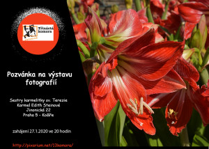 Pozvánka na výstavu s logem v. červená-Míša